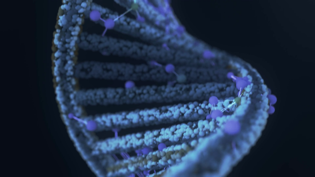 a blue DNA strand on a black ground